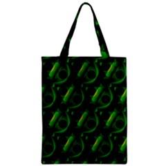 Green Eye Line Triangle Poljka Zipper Classic Tote Bag