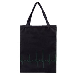 Heart Rate Line Green Black Wave Chevron Waves Classic Tote Bag
