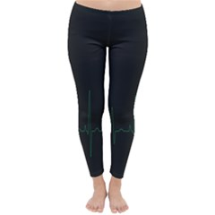 Heart Rate Line Green Black Wave Chevron Waves Classic Winter Leggings