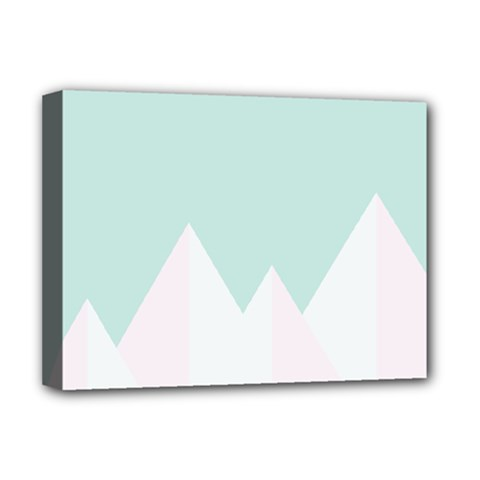 Montain Blue Snow Chevron Wave Pink Deluxe Canvas 16  x 12