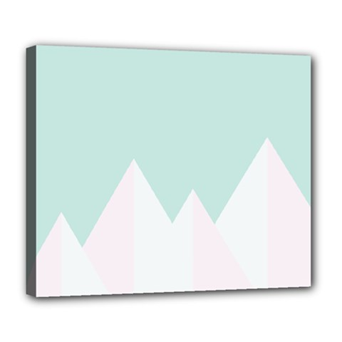 Montain Blue Snow Chevron Wave Pink Deluxe Canvas 24  x 20