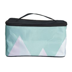 Montain Blue Snow Chevron Wave Pink Cosmetic Storage Case