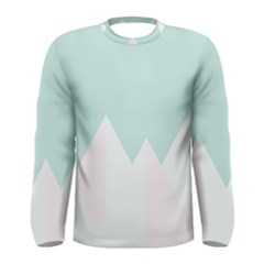 Montain Blue Snow Chevron Wave Pink Men s Long Sleeve Tee