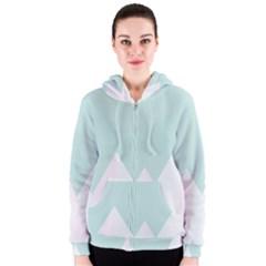 Montain Blue Snow Chevron Wave Pink Women s Zipper Hoodie