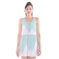 Montain Blue Snow Chevron Wave Pink Scoop Neck Skater Dress
