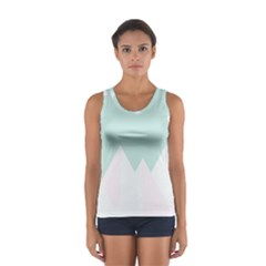 Montain Blue Snow Chevron Wave Pink Women s Sport Tank Top