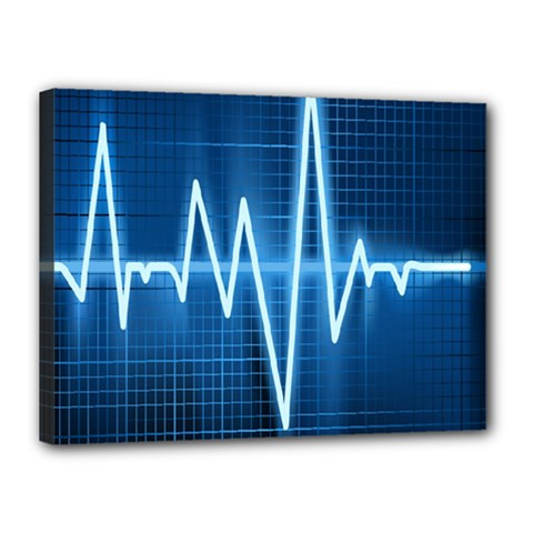 Heart Monitoring Rate Line Waves Wave Chevron Blue Canvas 16  x 12
