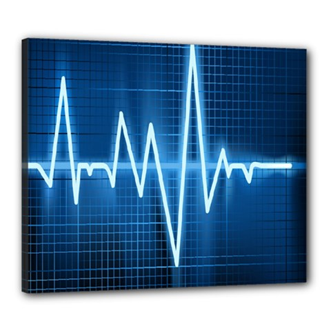 Heart Monitoring Rate Line Waves Wave Chevron Blue Canvas 24  x 20