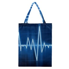 Heart Monitoring Rate Line Waves Wave Chevron Blue Classic Tote Bag