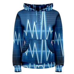 Heart Monitoring Rate Line Waves Wave Chevron Blue Women s Pullover Hoodie
