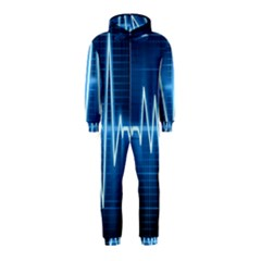 Heart Monitoring Rate Line Waves Wave Chevron Blue Hooded Jumpsuit (Kids)