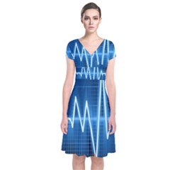 Heart Monitoring Rate Line Waves Wave Chevron Blue Short Sleeve Front Wrap Dress