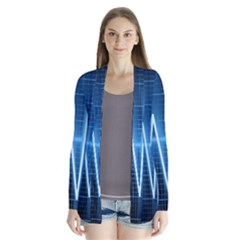 Heart Monitoring Rate Line Waves Wave Chevron Blue Cardigans