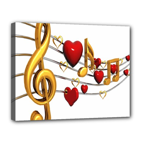 Music Notes Heart Beat Canvas 14  x 11