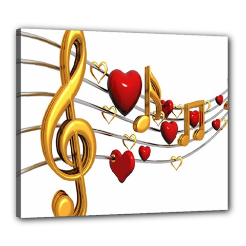 Music Notes Heart Beat Canvas 24  x 20