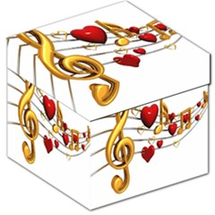 Music Notes Heart Beat Storage Stool 12