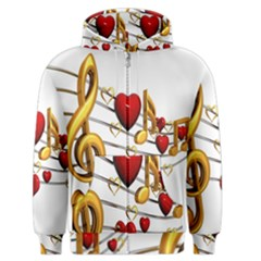 Music Notes Heart Beat Men s Zipper Hoodie
