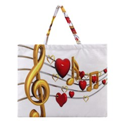 Music Notes Heart Beat Zipper Large Tote Bag
