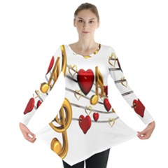 Music Notes Heart Beat Long Sleeve Tunic
