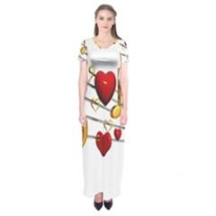 Music Notes Heart Beat Short Sleeve Maxi Dress
