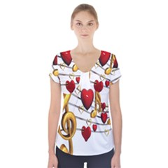 Music Notes Heart Beat Short Sleeve Front Detail Top