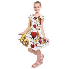 Music Notes Heart Beat Kids  Short Sleeve Dress