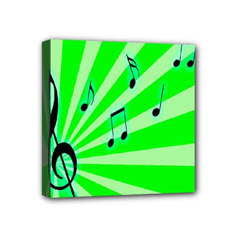 Music Notes Light Line Green Mini Canvas 4  x 4