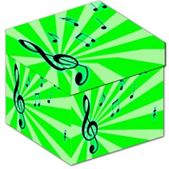Music Notes Light Line Green Storage Stool 12