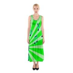Music Notes Light Line Green Sleeveless Maxi Dress