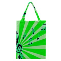Music Notes Light Line Green Classic Tote Bag