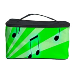 Music Notes Light Line Green Cosmetic Storage Case