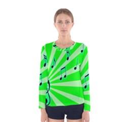 Music Notes Light Line Green Women s Long Sleeve Tee