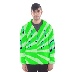 Music Notes Light Line Green Hooded Wind Breaker (Men)