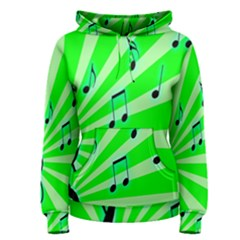 Music Notes Light Line Green Women s Pullover Hoodie