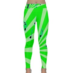 Music Notes Light Line Green Classic Yoga Leggings