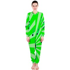 Music Notes Light Line Green OnePiece Jumpsuit (Ladies)