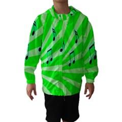 Music Notes Light Line Green Hooded Wind Breaker (Kids)
