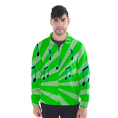 Music Notes Light Line Green Wind Breaker (Men)