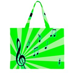 Music Notes Light Line Green Large Tote Bag
