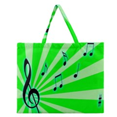 Music Notes Light Line Green Zipper Large Tote Bag