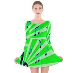 Music Notes Light Line Green Long Sleeve Velvet Skater Dress