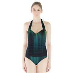 Lines Light Shadow Vertical Aurora Halter Swimsuit