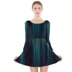 Lines Light Shadow Vertical Aurora Long Sleeve Velvet Skater Dress