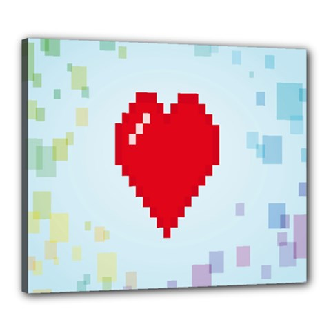 Red Heart Love Plaid Red Blue Canvas 24  x 20