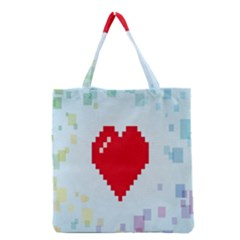 Red Heart Love Plaid Red Blue Grocery Tote Bag