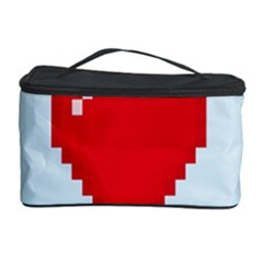 Red Heart Love Plaid Red Blue Cosmetic Storage Case