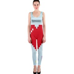 Red Heart Love Plaid Red Blue OnePiece Catsuit
