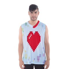 Red Heart Love Plaid Red Blue Men s Basketball Tank Top