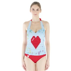 Red Heart Love Plaid Red Blue Halter Swimsuit