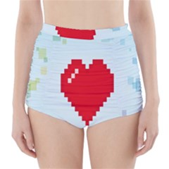 Red Heart Love Plaid Red Blue High-Waisted Bikini Bottoms